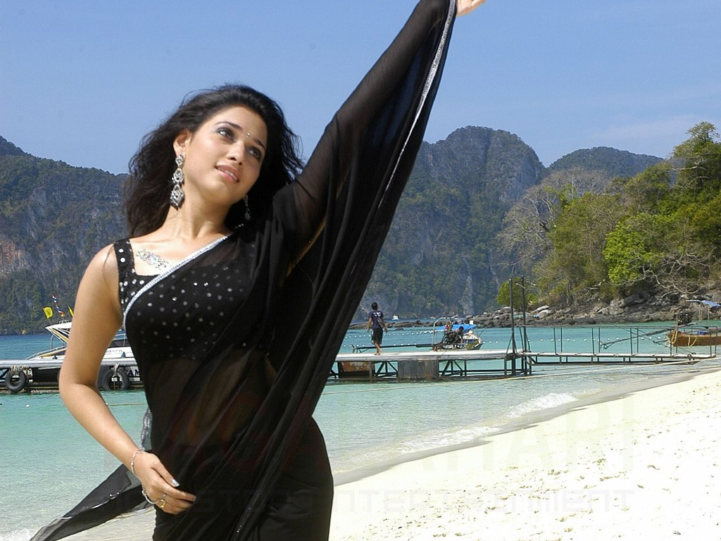 Tamanna Beautiful In Black Saree Wallpapers In Jpg Format For Free