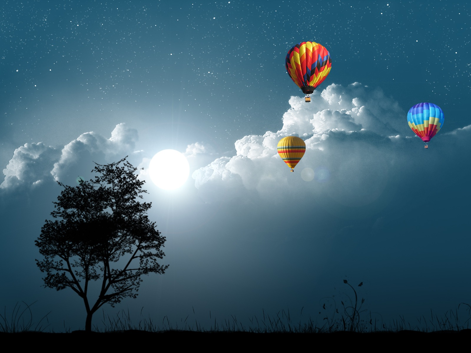 Balloon Night Wallpaper Photo Manipulated Nature Wallpapers