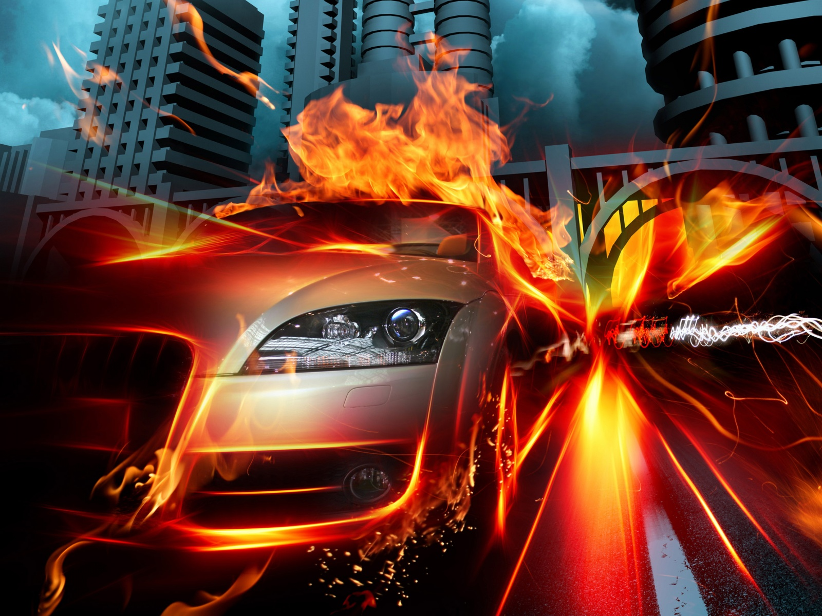 Car In Fire City HQ Wallpapers