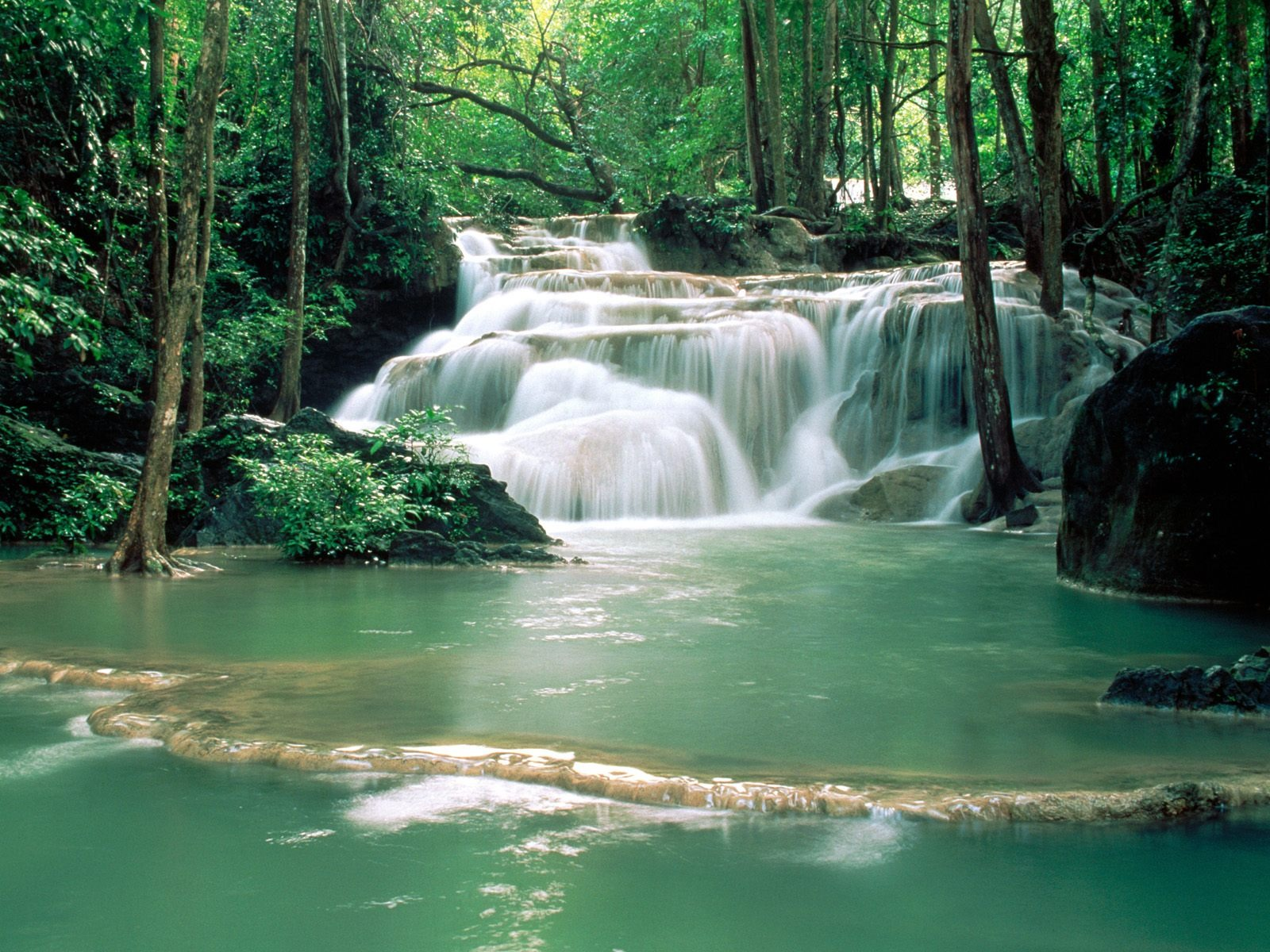 Kao Pun Temple Waterfalls Wallpaper Nature Wallpapers