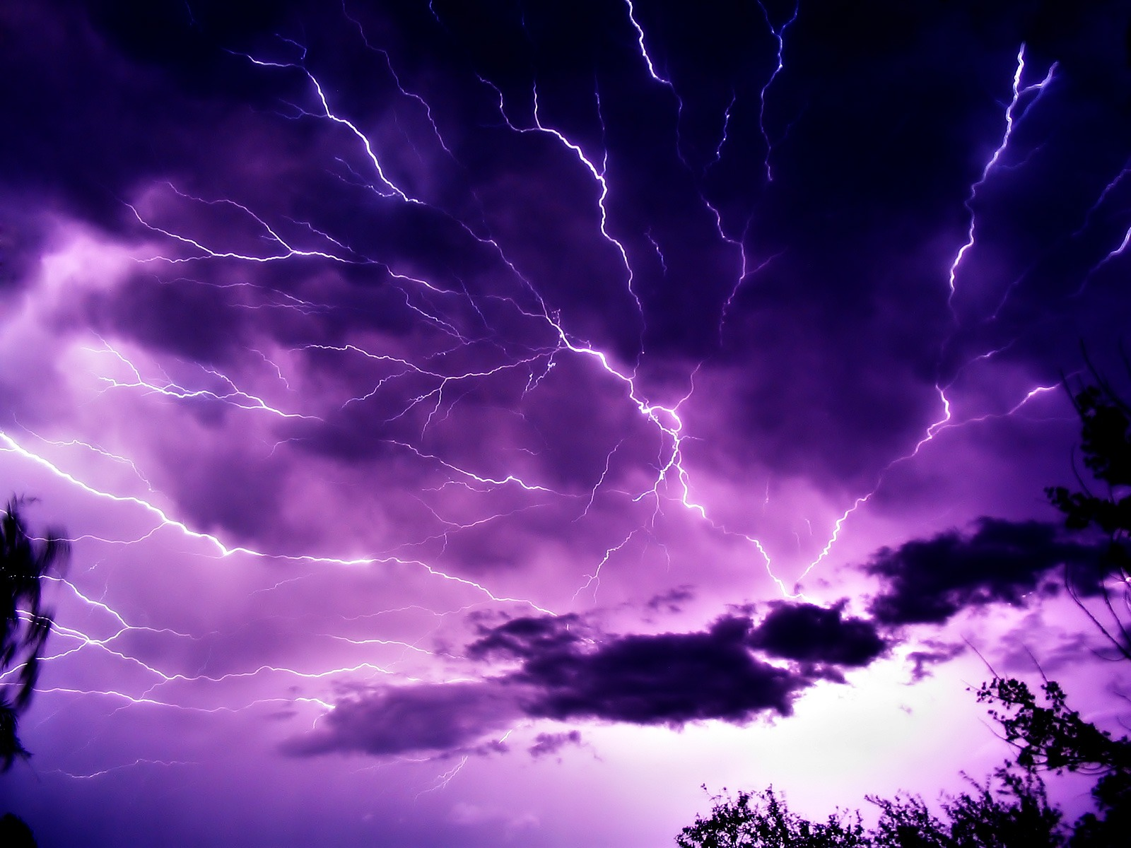 Mauve Sky with Lightning Wallpaper Landscape Nature Wallpapers