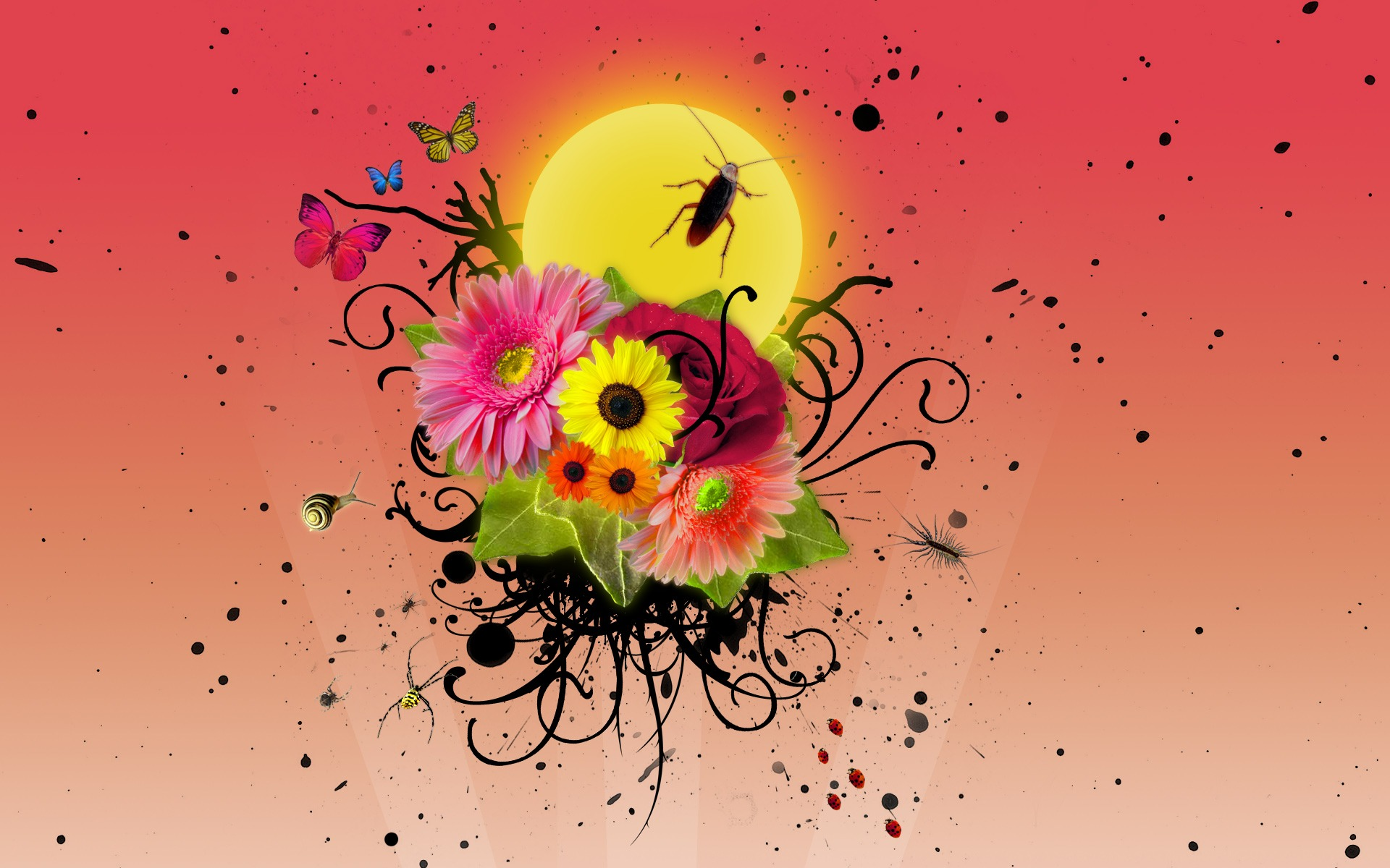Flowers and insects Wallpaper Vector D Wallpapers in jpg format