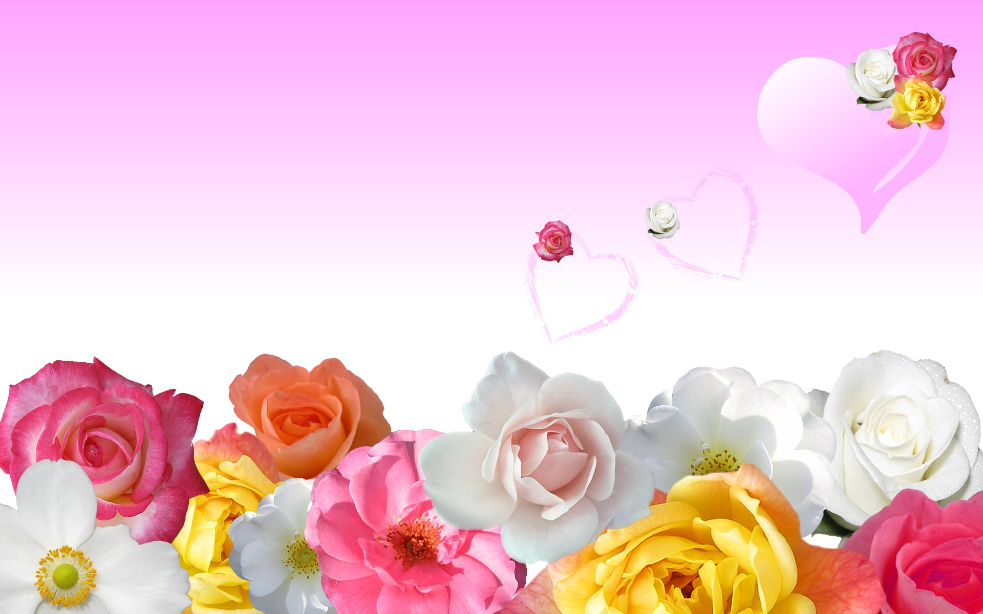 Roses & Love Hearts Wallpapers in jpg format for free download