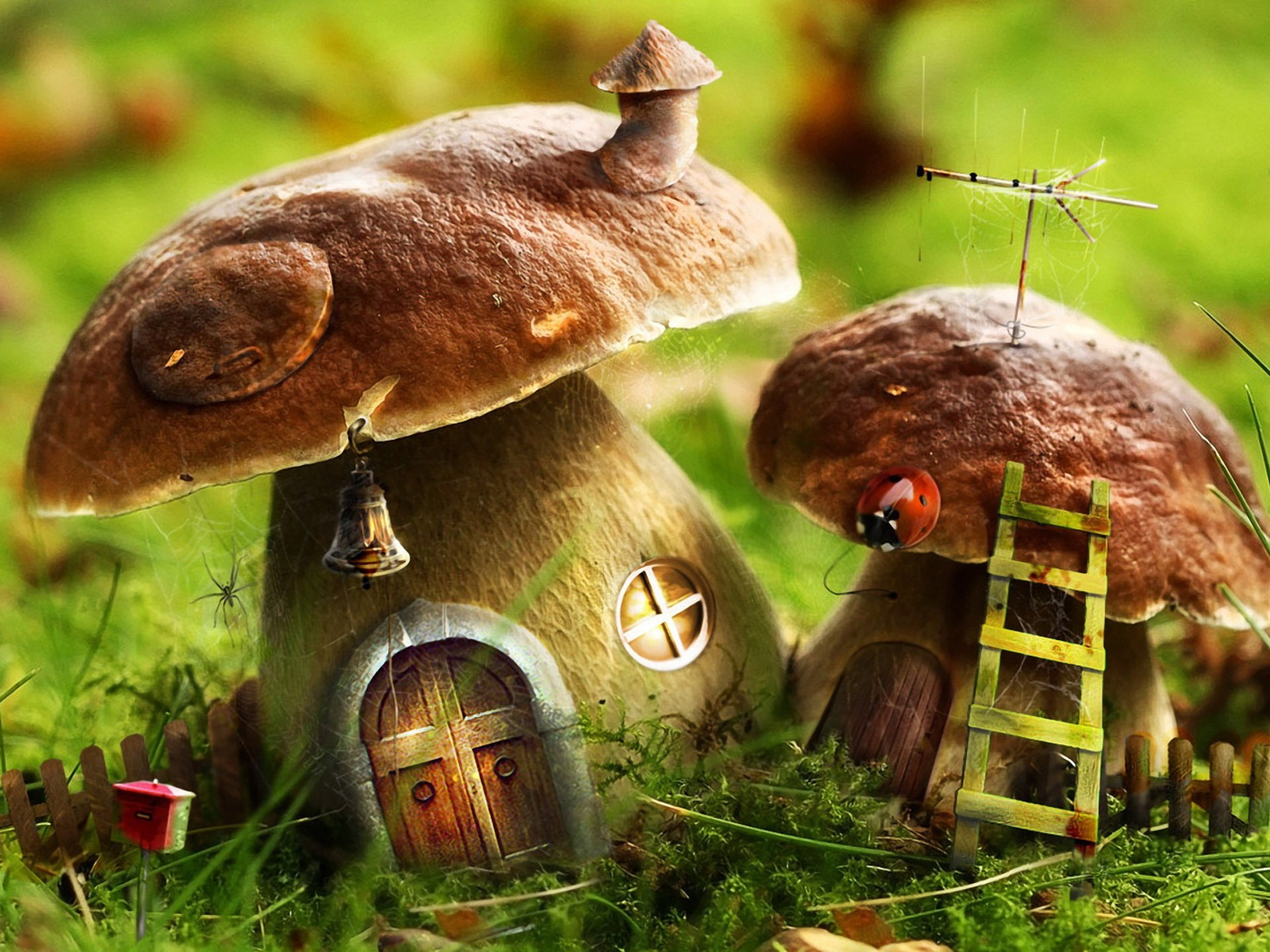 Mushrooms House Wallpaper Photo Manipulated Nature. Nature house wallpaper wallpapers for free download about  3 807