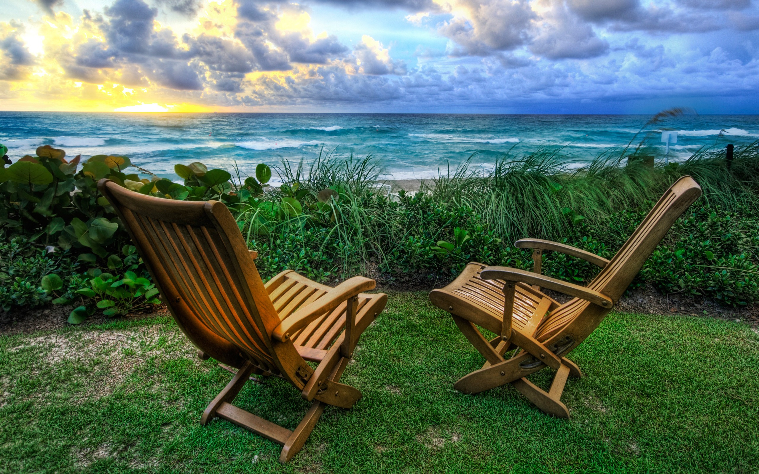 Beach Chairs Wallpaper High Dynamic Range Nature Wallpapers In Jpg