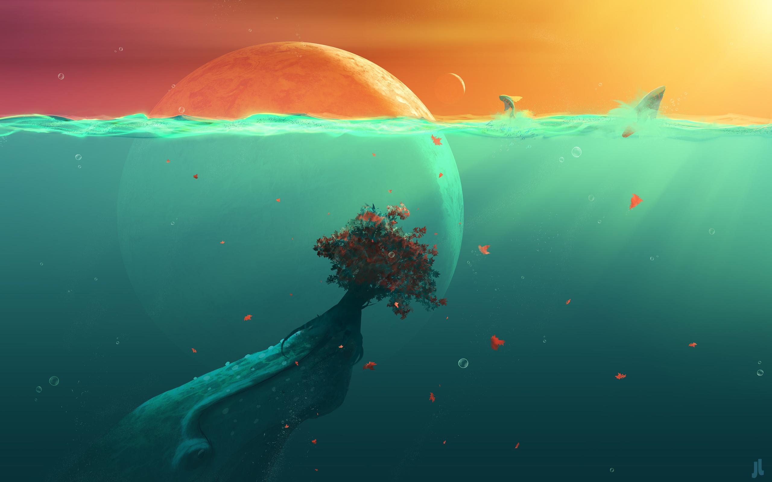 Water Ocean Sun Sea Planets Alien Landscapes Wallpaper At 3d ...