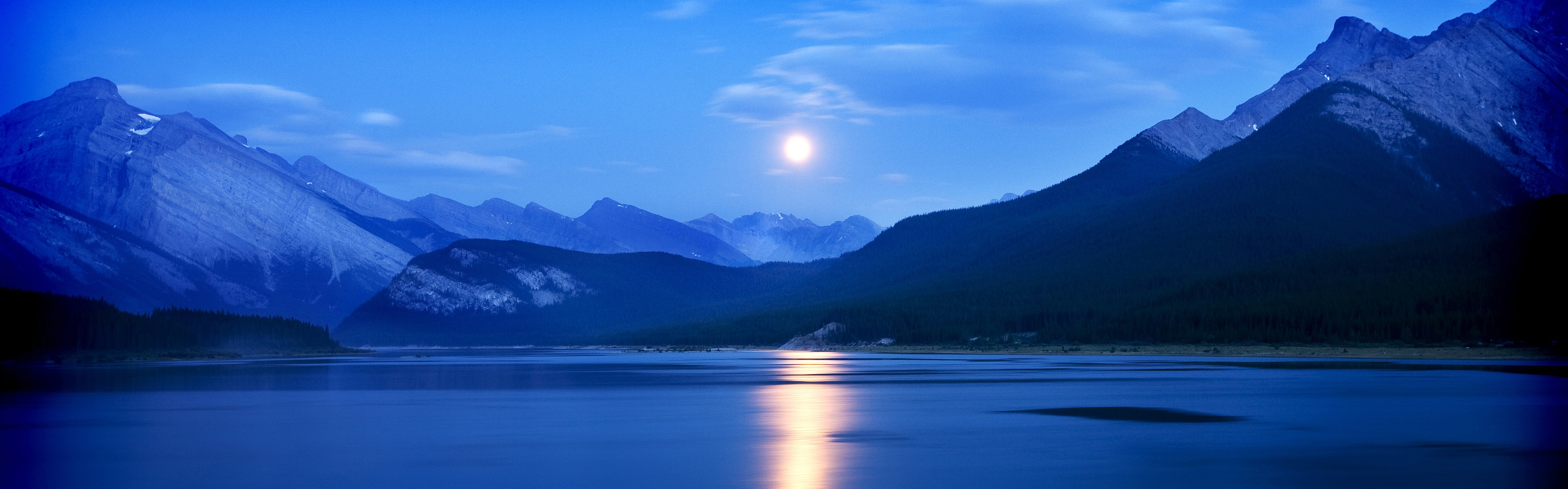 Moonrise Spray Lakes Reservoir Alberta Canada Wallpapers in jpg