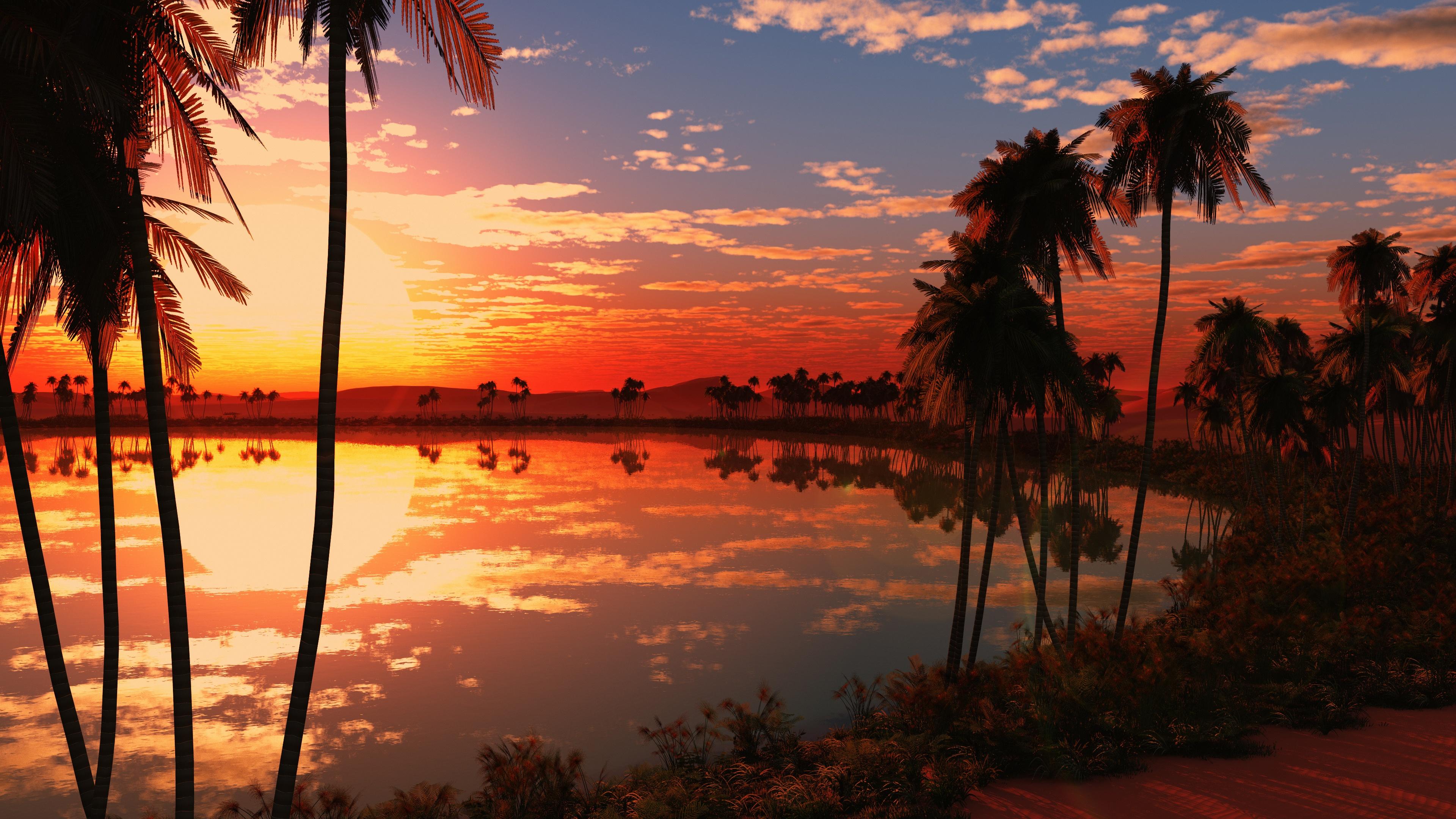 Beautiful Lake Sunset Wallpapers