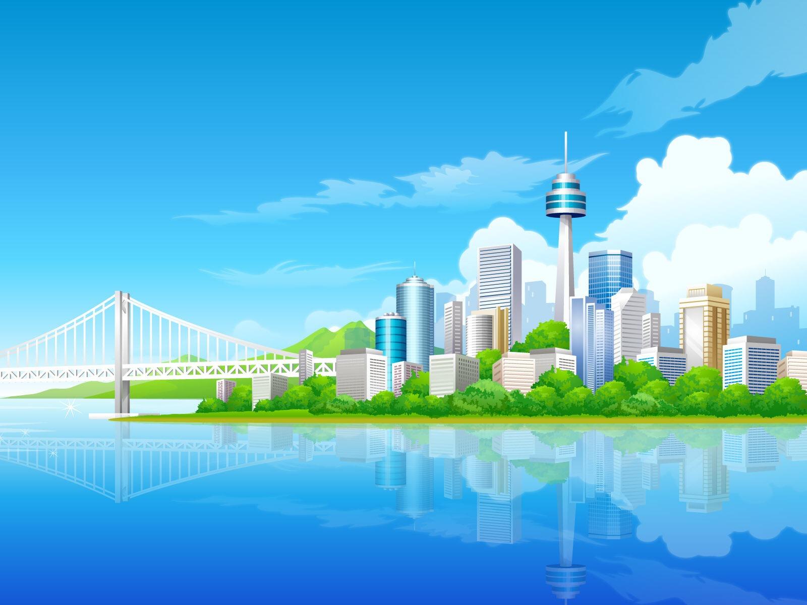 Blue city wallpaper vector 3d wallpapers in jpg format for for Modern 3d wallpaper