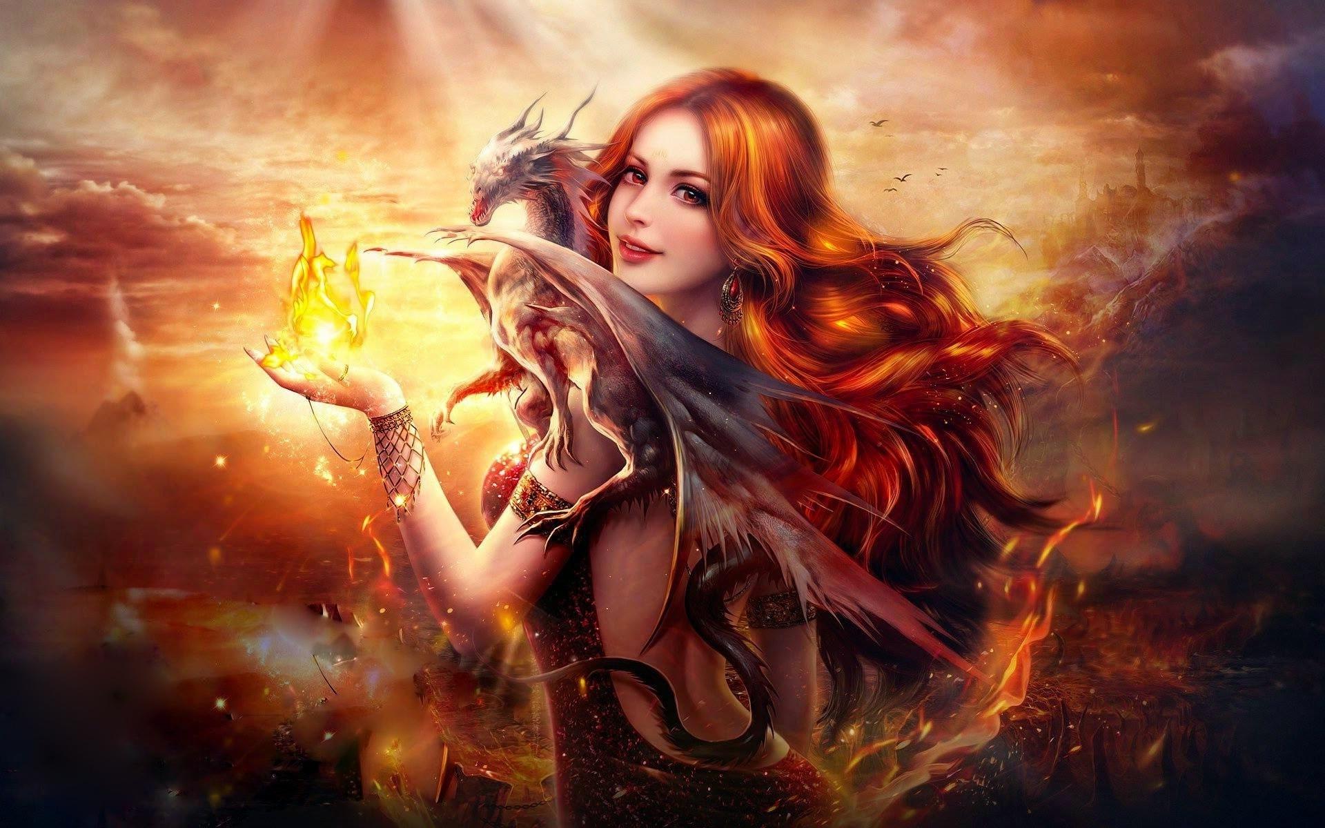 Kelly Fire Wallpaper Free: Dragon Fire Fantasy Girl Wallpapers In Jpg Format For Free